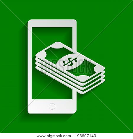 Payment, refill your mobile smart phone, . Vector. Paper whitish icon with soft shadow on green background.
