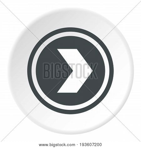 Arrow to right in circle icon in flat circle isolated vector illustration for web