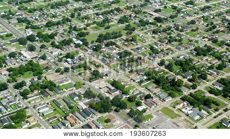 Aerial view of suburban New Orleans, Louisiana