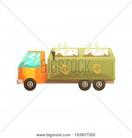 Garbage truck full of waste, recycling of garbage and utilization cartoon vector Illustration isolated on a white background