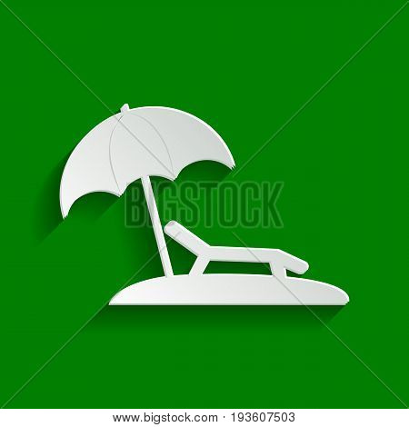 Tropical resort beach. Sunbed Chair sign. Vector. Paper whitish icon with soft shadow on green background.