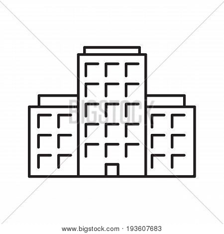 Multi-storey building linear icon. Apartment house thin line illustration. Tower block contour symbol. Vector isolated outline drawing