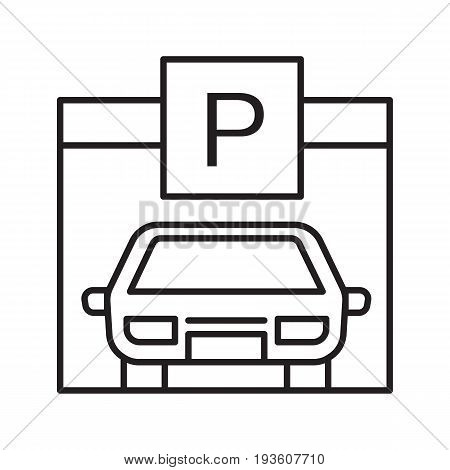 Parking place linear icon. Garage thin line illustration. Auto shed contour symbol. Vector isolated outline drawing