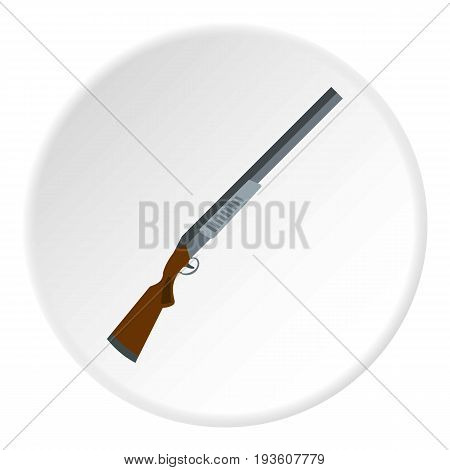 Gun icon in flat circle isolated vector illustration for web