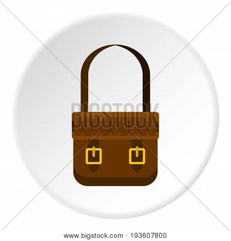 Shoulder bag icon in flat circle isolated vector illustration for web