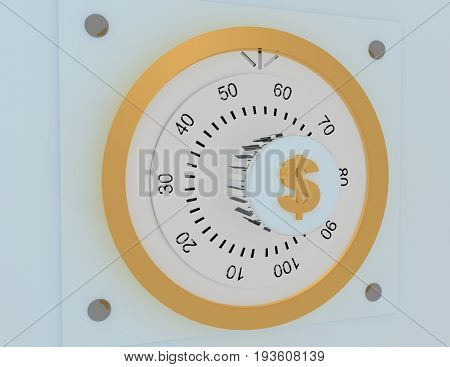 Combination Dial Safe Lock And Key Lock . 3D Rendered Illustration