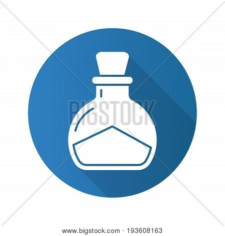 Sea salt flat design long shadow glyph icon. Magic potion bottle. Vector silhouette illustration