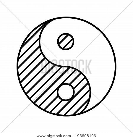 Yin yang linear icon. Thin line illustration. Contour symbol. Vector isolated outline drawing