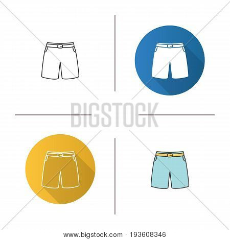 Swimming trunks icon. Flat design, linear and color styles. Sport shorts. Isolated vector illustrations