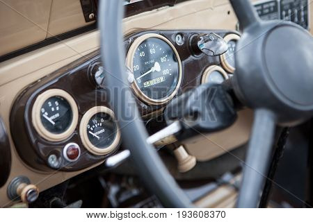 The instrument panel of a Soviet vintage car closeup