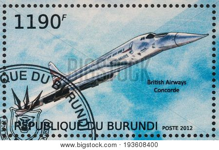 Moscow Russia - July 02 2017: A stamp printed in Burundi shows supersonic passenger airliner Concorde British Airways series