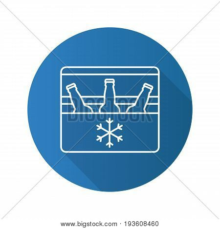 Portable refrigerator flat linear long shadow icon. Portable fridge with beer bottles. Vector outline symbol