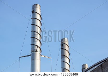 Thermal power stations and power lines chimney tower