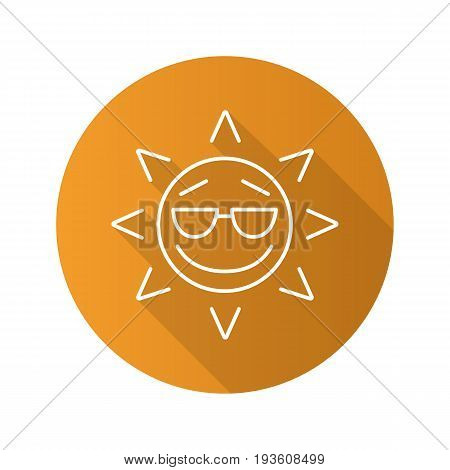 Cool sun smile flat linear long shadow icon. Summertime. Good mood emoticon. Vector outline symbol