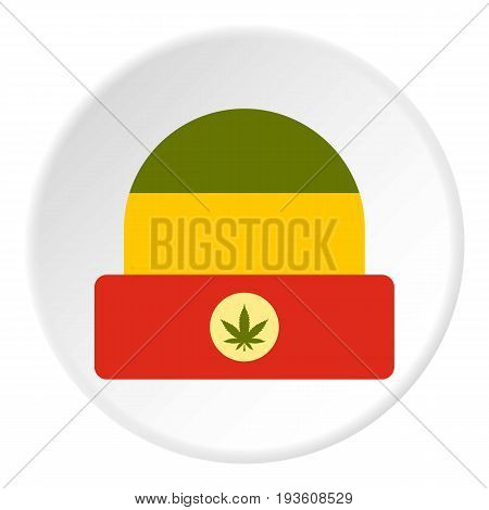 Hat in rastafarian colors icon in flat circle isolated vector illustration for web