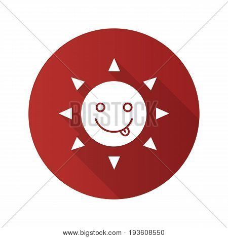 Yummy sun smile flat design long shadow glyph icon. Silly, goofy, foolish sun emoticon. Vector silhouette illustration