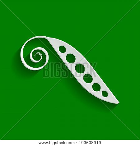 Eco food vegetables Pea sign. Vector. Paper whitish icon with soft shadow on green background.