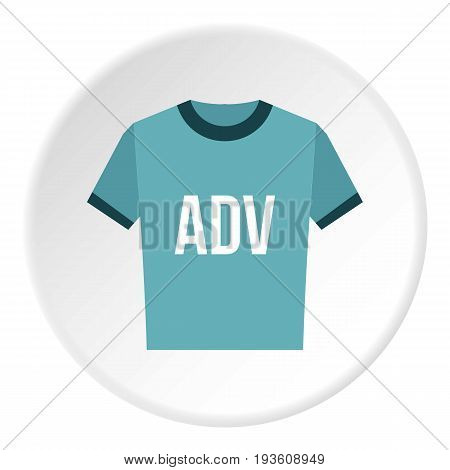 Blue shirt with ADV inscription icon in flat circle isolated vector illustration for web