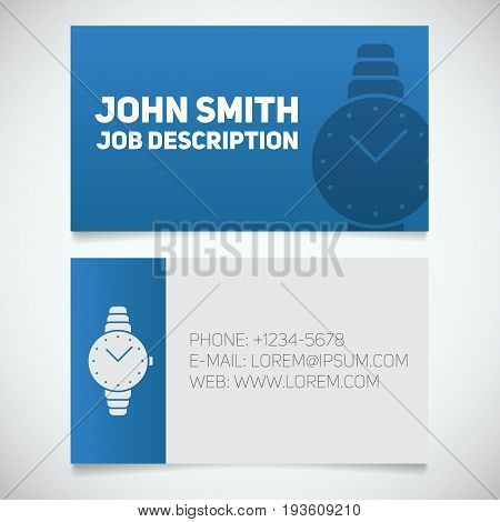 Business card print template with wristwatch logo. Women's accessories shop. Stationery design concept. Vector illustration
