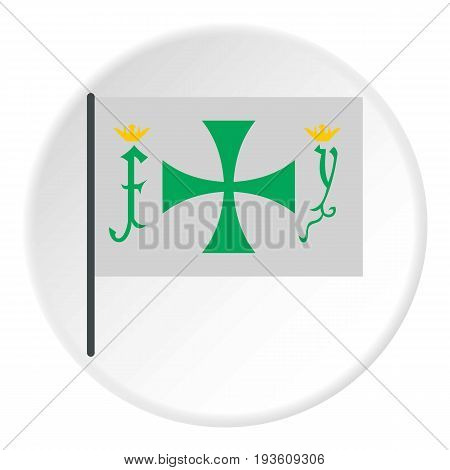 Flag of Christopher Columbus icon in flat circle isolated vector illustration for web