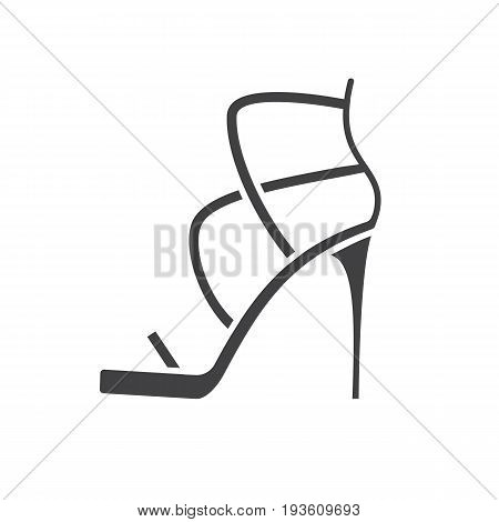 High heel shoe glyph icon. Silhouette symbol. Negative space. Vector isolated illustration