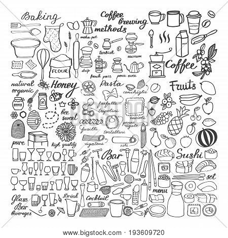 Food sketch icons set Big hand-drawn cartoon collection of different food and drinks Coffee fruits sushi bakery honey bar equipment and pasta doodle drawings vector illustration