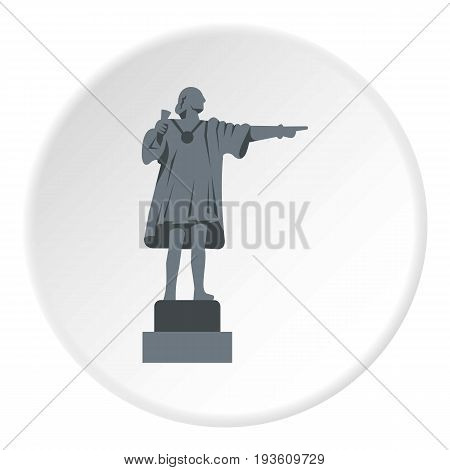 Christopher Columbus Statue icon in flat circle isolated vector illustration for web