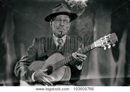 Wet plate look like photo of vintage african american jazz musician.