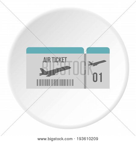 Air ticket icon in flat circle isolated vector illustration for web