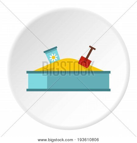 Sandbox icon in flat circle isolated vector illustration for web
