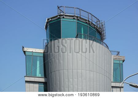 modern airport's control tower abandoned . metal structures
