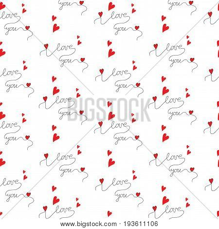 Seamless pattern with beautiful lettering I love you with red hearts. Vector seamless pattern for Valentine day and other greeting card or design.