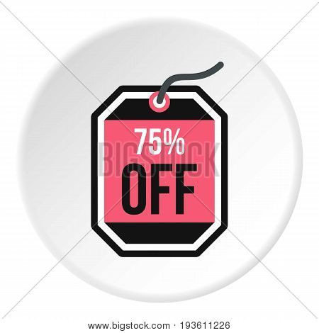 Sale tag 75 percent off icon in flat circle isolated vector illustration for web