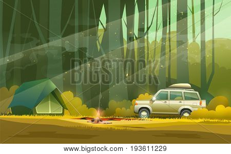 Vector illustration of camp with tent, fire and car in the woods.
