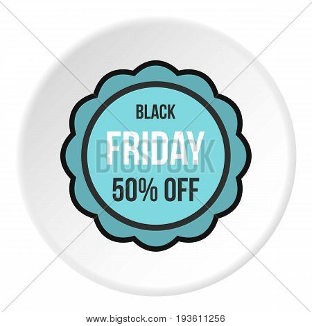 Black Friday sale sticker icon in flat circle isolated vector illustration for web