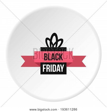 Black Friday gift box icon in flat circle isolated vector illustration for web