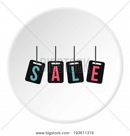 Hanging sale tags icon in flat circle isolated vector illustration for web