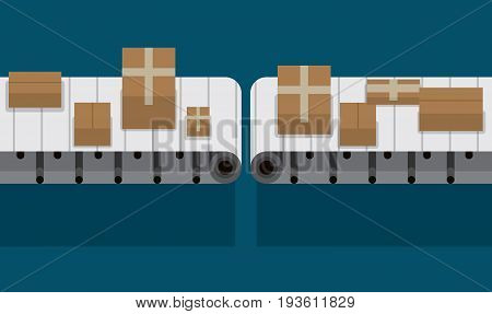 Automated conveyor belt at factory vector illustration. Cardboard boxes on conveyor a flat illustration