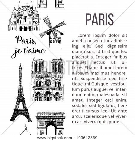 Set of Paris symbols. Eiffel tower, Notre Dame, Moulin Rouge etc. Vector sketch seamless pattern illustration. France. architecture. vertical stripe with description text. banner, prints, poster