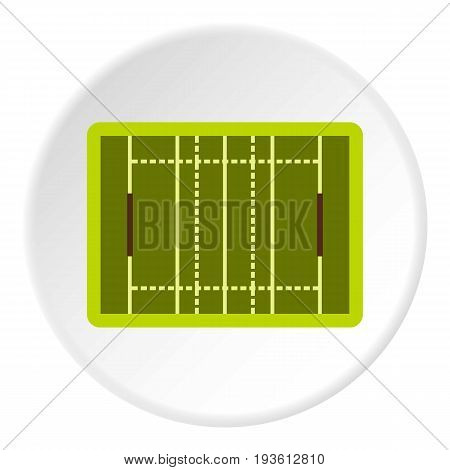 Rugby sport field icon in flat circle isolated vector illustration for web