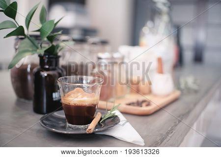 macchiato espresso coffee hot drink with vintage tone.