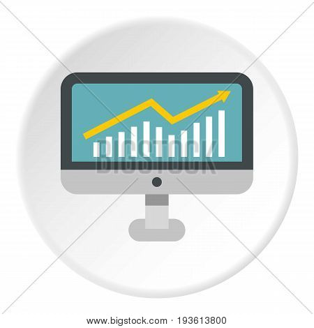 Statistics on monitor icon in flat circle isolated vector illustration for web