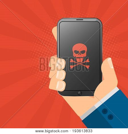 The hacker is holding a hacked gadget in his hands. Electronic high-tech phone smartphone. Web programming. Red skull on the screen. Vector illustration