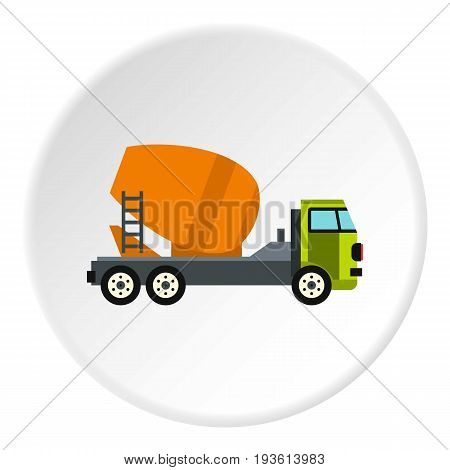 Truck mixer icon in flat circle isolated vector illustration for web