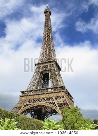 Paris, France, September 17, 2011 :  The Eiffel Tower at the Champ-De Mars which is a popular tourist attraction in the city