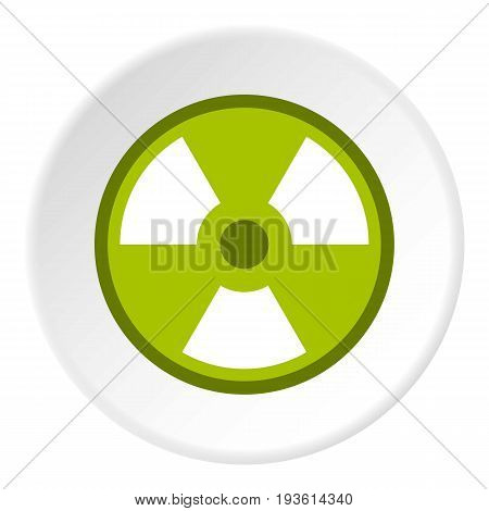 Radioactive sign icon in flat circle isolated vector illustration for web