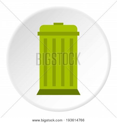Eco dustbin icon in flat circle isolated vector illustration for web