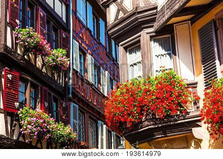 Floral traditional town Colmar in Alsace region. France