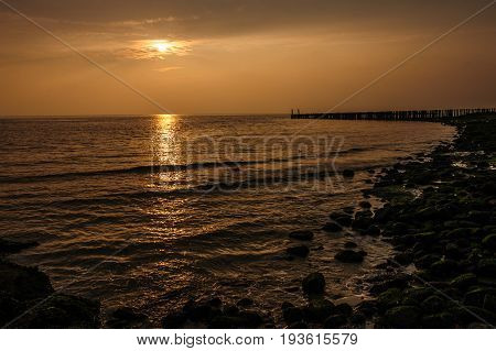 Sunrise at the coast of Westkapelle in the Dutch province of Zeeland, mid Septemer
