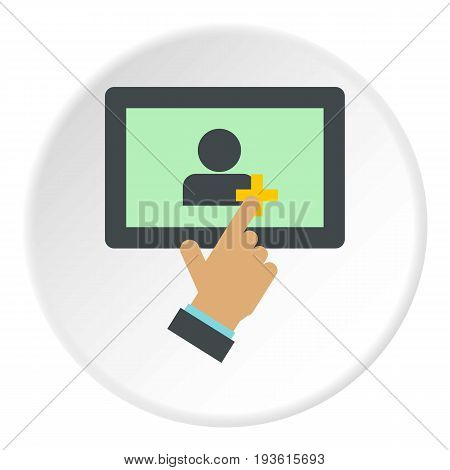 Adding friends on the tablet icon in flat circle isolated vector illustration for web